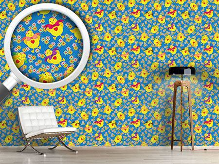 Pattern Wallpaper Dancing Chick