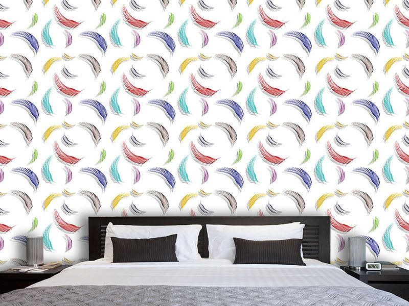 Pattern Wallpaper Colorful Feather Pattern