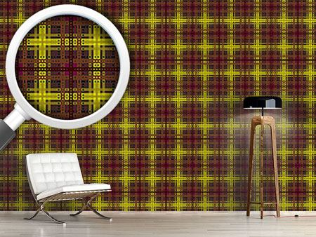 Pattern Wallpaper Brown Tartan
