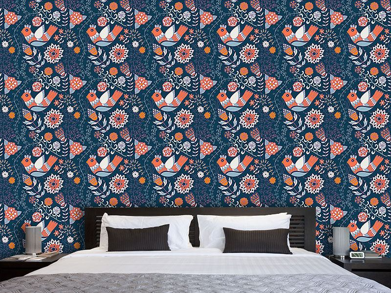 Pattern Wallpaper Enchanting Bird Paradise