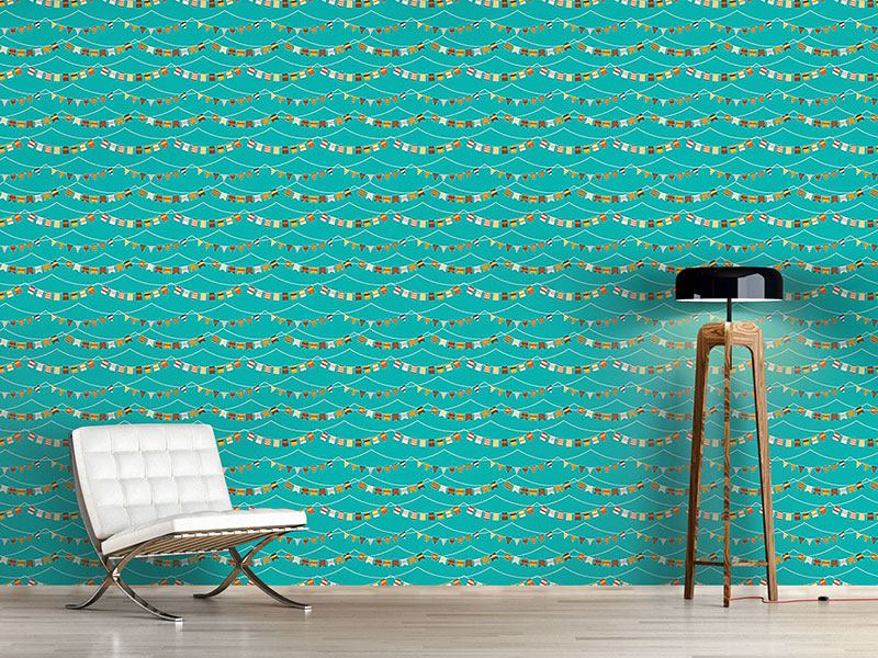 Pattern Wallpaper Garlands And Waves
