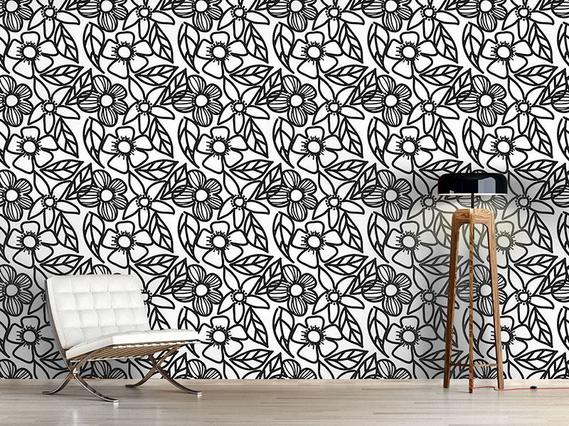 Pattern Wallpaper Flower Doodles Black And White