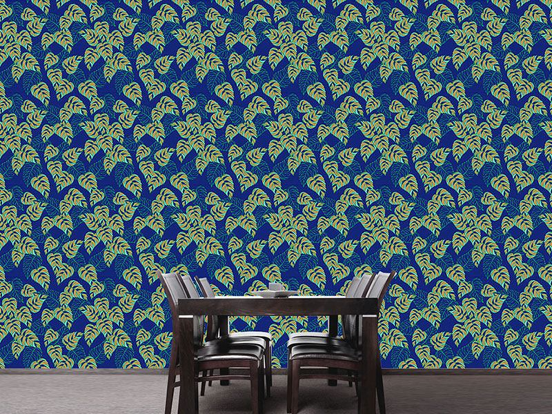Pattern Wallpaper Birch Leaf At Night