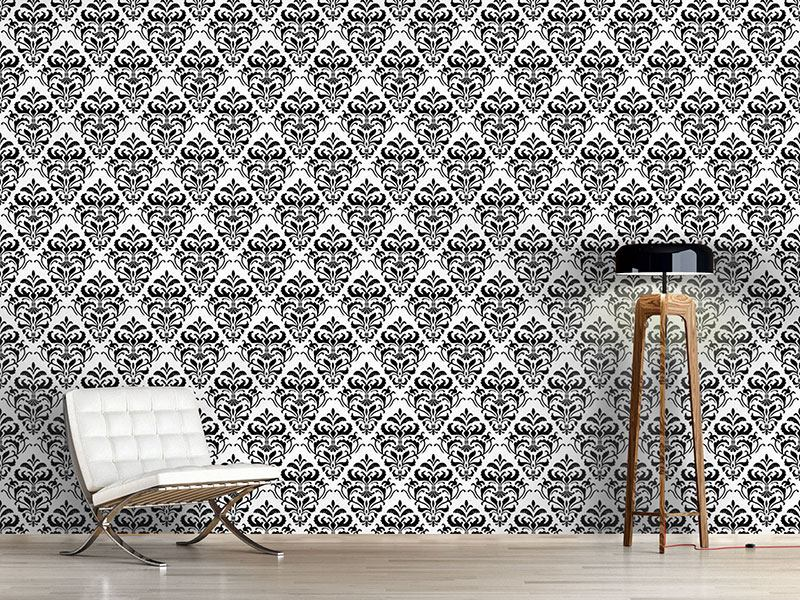 Pattern Wallpaper Black White Baroque