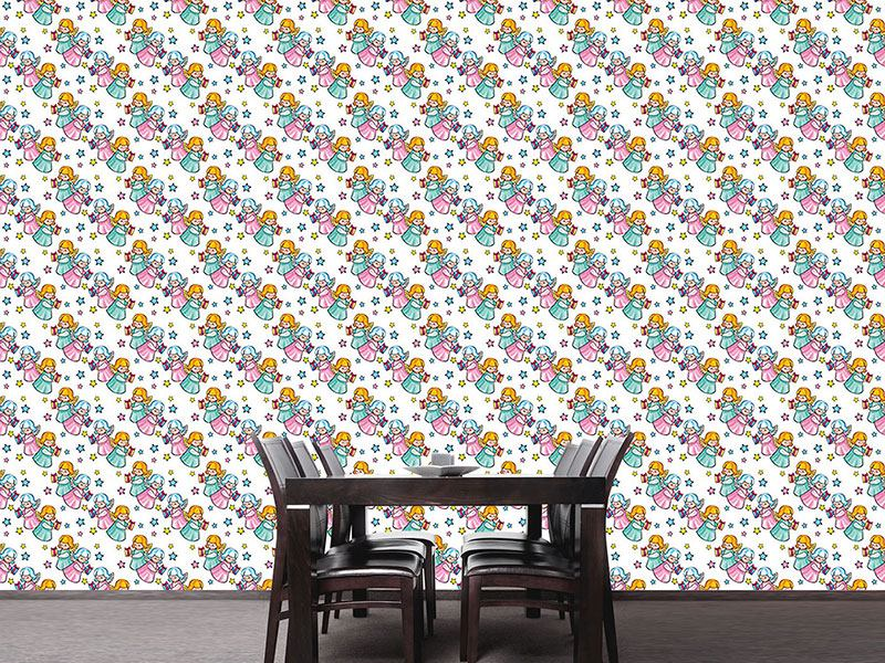 Pattern Wallpaper Angels Bringing Gifts