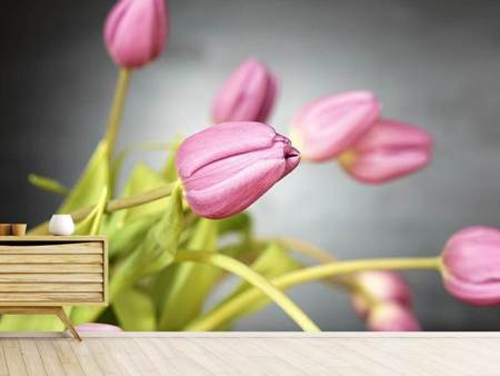 Photo Wallpaper The tulip bouquet in pink