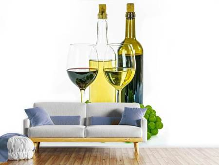 Fotobehang White wine and red wine