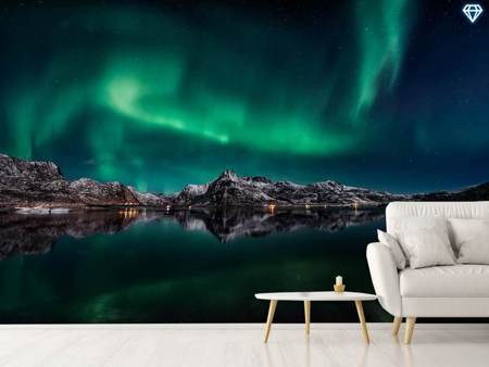 Photo Wallpaper Lofoten Aurora Reflection