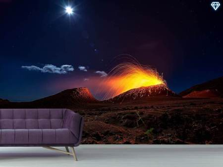 Photo Wallpaper Lava Flow With The Moon