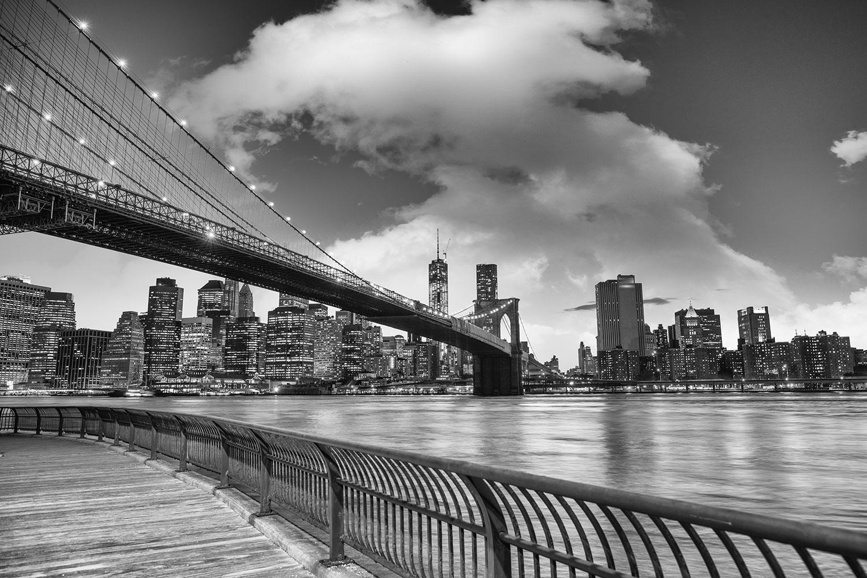 Photo Wallpaper Skyline Black And White Photography Brooklyn Bridge Ny