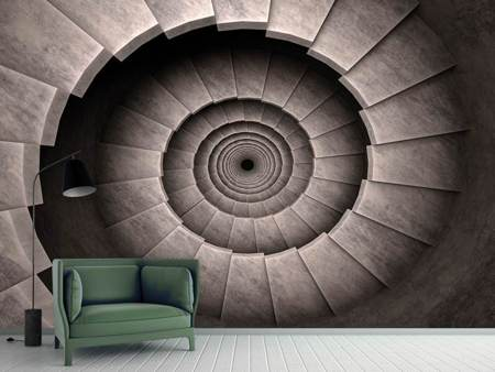 Photo Wallpaper Stone Spiral Staircase