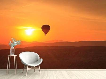 Photo Wallpaper Hot Air Balloon At Sunset