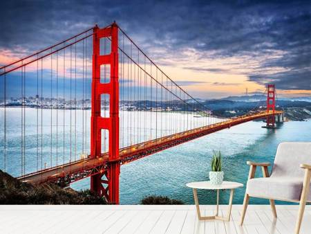 Photo Wallpaper The Golden Gate Bridge At Sunset